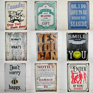 Quirky-Metal-Wall-Hanging-Plaques-Loads-of-Styles-30x40x1cm-Signs