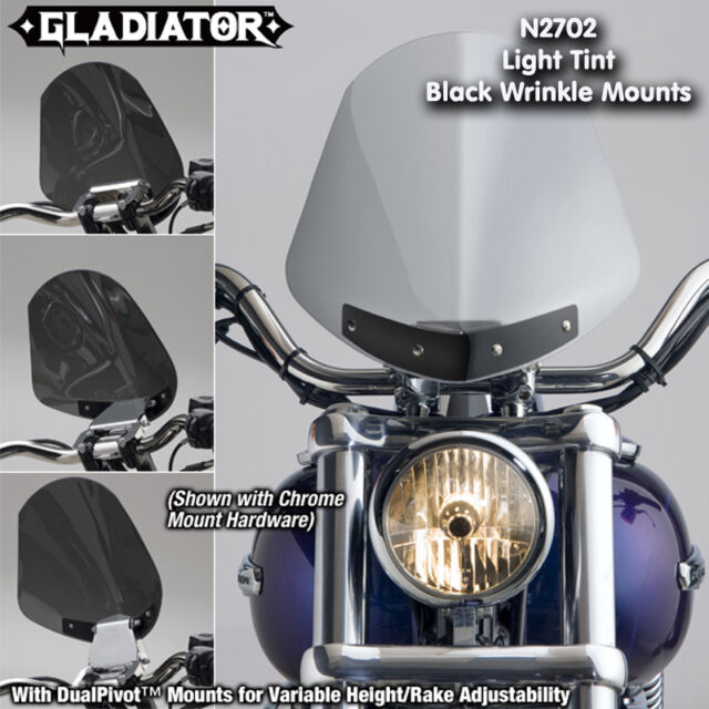 HARLEY FLST HERITAGE SOFTAIL GLADIATOR WINDSHIELD LIGHT TINT BLACK MOUNTS N2702