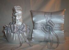 WHITE SATIN / SILVER METALLIC TRIM FLOWER GIRL BASKET & RING BEARER PILLOW #1