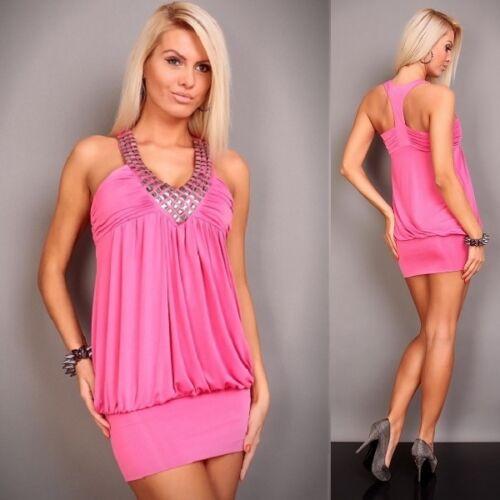 496 Clubbing Party Sleeveless Beads Mini Dress//Tunic Pink Size S//M UK 8//10