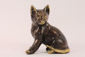 Skulptur-Figur-Bronze-teilpoliert-sitzende-Katze