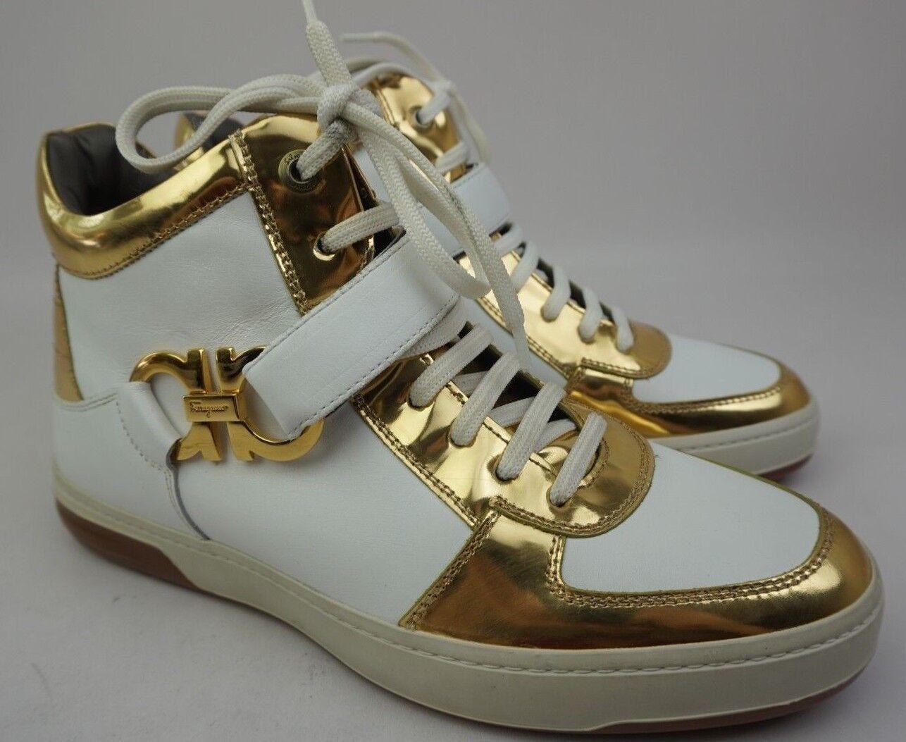 Salvatore Ferragamo Nayon Gold Weißes Leder Hohe Reißverschluss Turnschuhe Größe