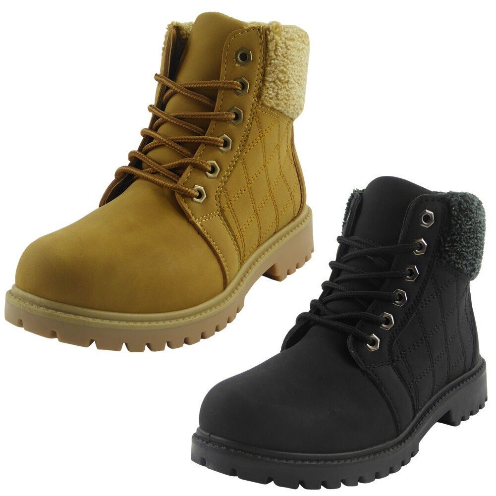 Womens Ladies Lace Up Quilted Low Heel Grip Sole Ankle Fleece Boots Shoes Size