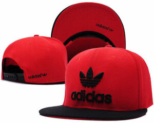 Embroidered-Adidas-Trefoil-Snapback-Flat-Cap-Red-amp-Black-One-Size-Fits-Most