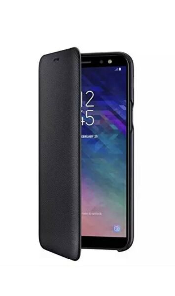 100% Genuine Samsung A6 Wallet Folio Flip Cover Case (noir) Fabrication Habile