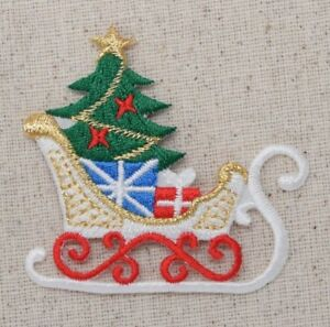 Image is loading Sleigh-Christmas-Tree-Gifts-Present-Sled-Iron-on-