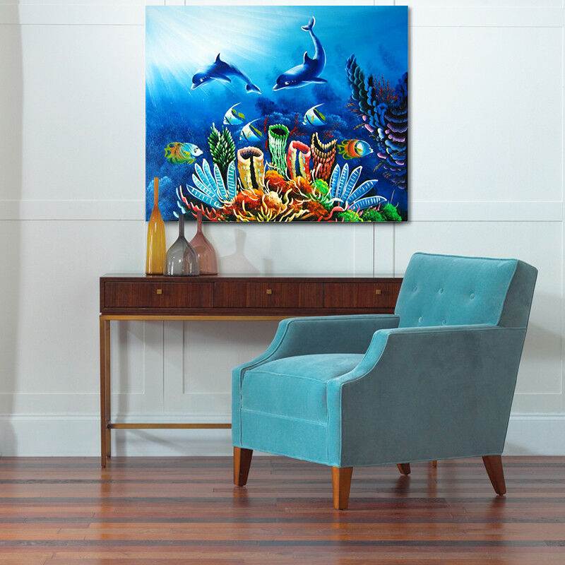 3D Dolphin Coral Fish 732 Wall Stickers Vinyl Wall Murals Print AJ WALLPAPER CA
