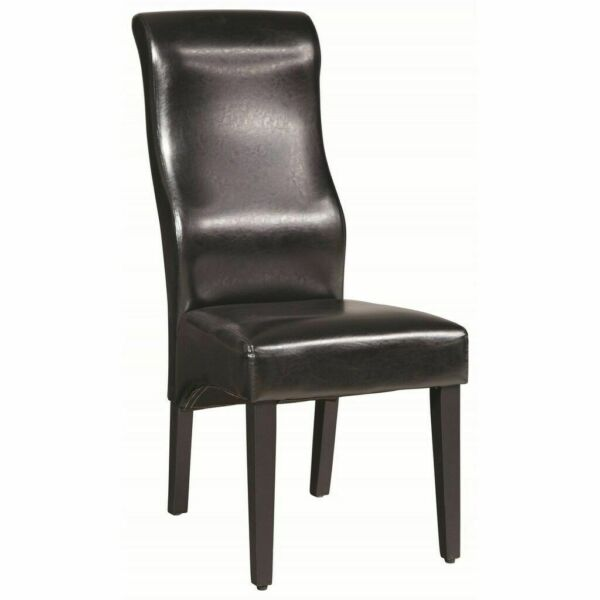 Upholstered High Back Dining Chair: Black Upholstered High Back Dining Side Chair By Coaster