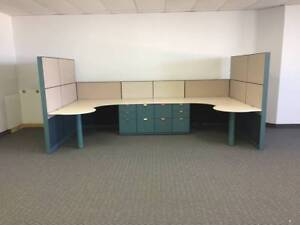 Details About 2 Person Office Desk Unit With Filing Cabinets Local Pickup No Shipping