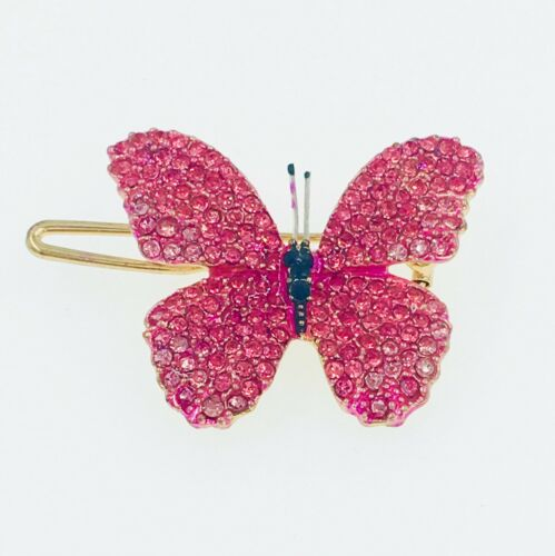 USA BUTTERFLY Hair Clip Hairpin use Swarovski Crystal Elegant Unique Pink #6