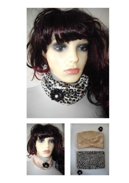 Ladies Scarf - Choker Fabric Necklace - plain/animal print, handmade REDUCED