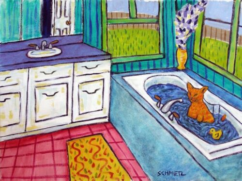 ORANGE TABBY cat prints bathroom art 8x10  art print animals impressionim