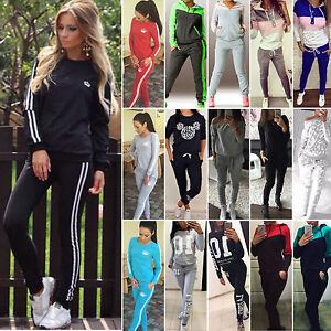 Damen-Trainingsanzug-Kapuzenpullover-Sweatershirt-Jogginghose-Sportanzug-Outfits