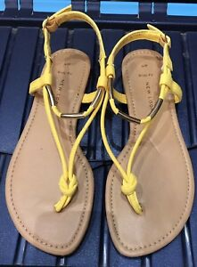 Look Yellow Sandals Size 4 Wide Fit