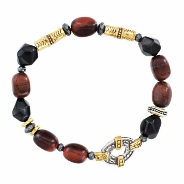 7.5  6.45 gm 925  Genuine Apatite Amber Prehnite bracelet Alluregem E1740 Sandstone Tiger/'s Eye