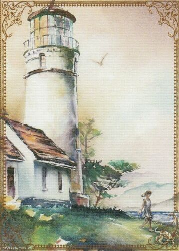 Modern Wide Linen Lighthouses P8 Girl Walking From Lighthouse Swap Playing Card