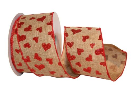 Valentines Hearts on Natural Ribbon 2.5 in wide 15 Yds rrva 90810w NEW Valentine