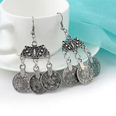 Gypsy Bohemian Ethnic Style Tribal Silver Gold Coin Drop Dangle Earrings Jewelry