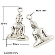 2 x Buddha Charm Tibetan Silver Enlightenment Pose Mudra Bag Pendant Zip Yoga