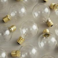 Replacement Globe Light Bulb, G50, 7w/130v, E17 Base, Clear, Set Of 25, New, Fre on sale