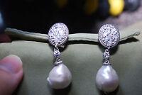 Judith Ripka Diamonique & Pearl Drop Earrings