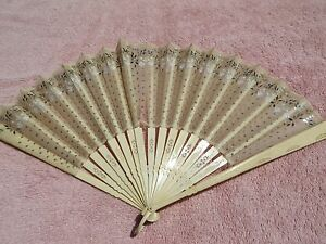 Old antique early 1900 Victorian hand fan 16 stays silk gauze with sequins