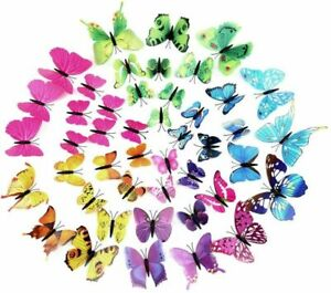12-3D-Schmetterlinge-Wandsticker-Wandtattoo-Wandaufkleber-Wanddeko-3D-Sticker
