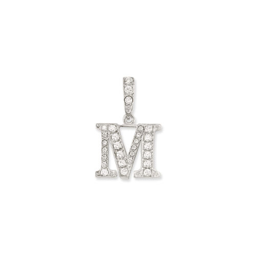 STERLING SILVER INITIAL PENDANT CZ CUBIC ZIRCONIA ANY NAME LETTER INITIAL BOXED