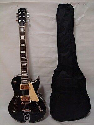 new 6 string hollow body electric guitar free gig bag black 852661635509 ebay. Black Bedroom Furniture Sets. Home Design Ideas