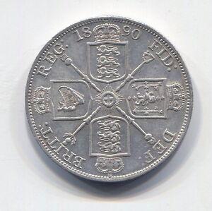GREAT-BRITAIN-FANTASTIC-HISTORICAL-SCARCE-QV-SILVER-DOUBLE-FLORIN-1890