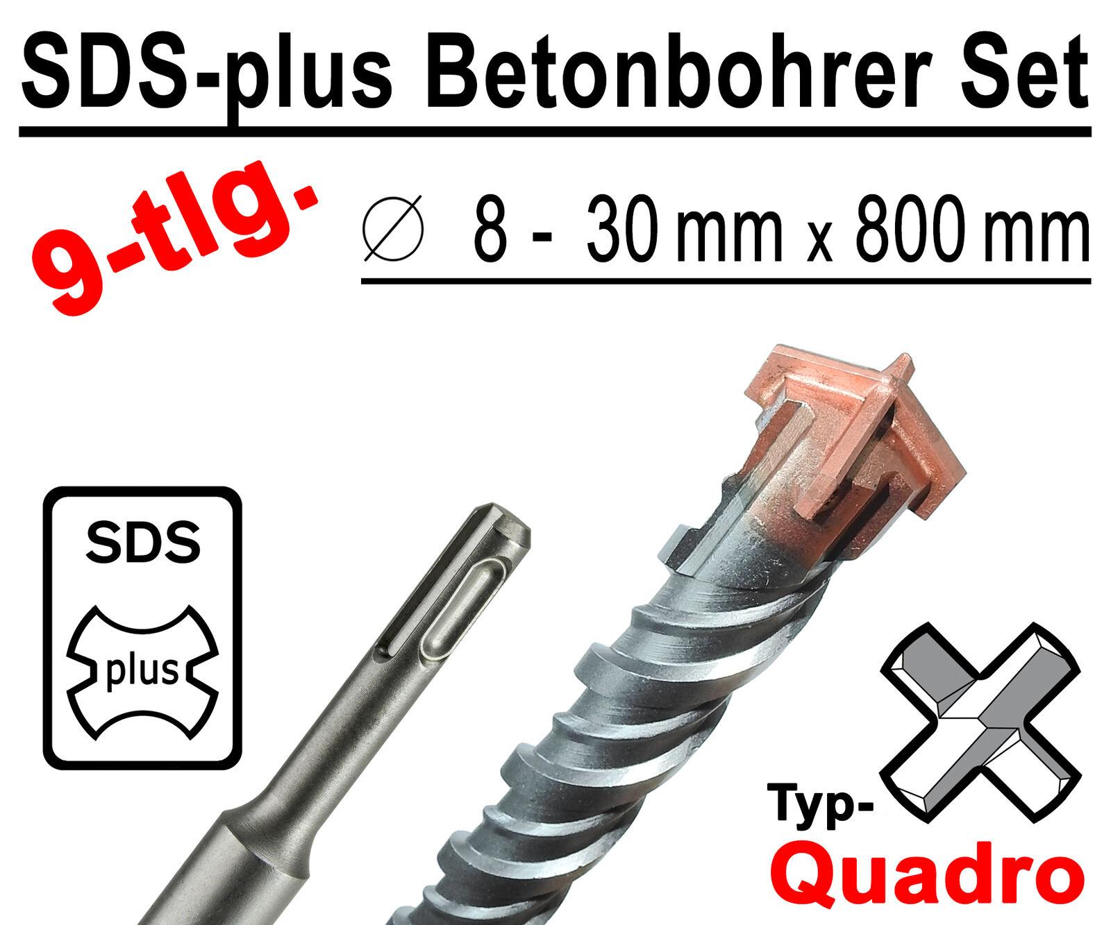 SDS-plus Betonbohrer Set 9-tlg Quadro Bohrer Hammerbohrer 8mm - 30mm x 800mm