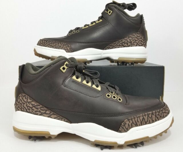 new product 9ceed e8a52 Nike Air Jordan 3 Retro Premium Golf Shoes Bronze Brown AO8952-200 Size 9.5