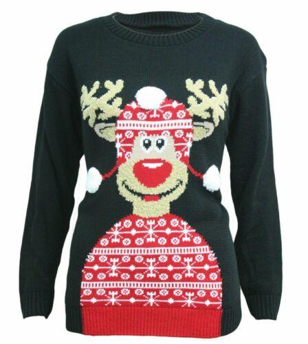Nouveau Femme en mailles à manches longues Rudolph Renne Chapeau Noël Noël Pull