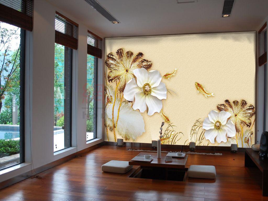 3D Lotus Leaf Flower 8 Wallpaper Mural Wall Print Wall Wallpaper Murals US Carly