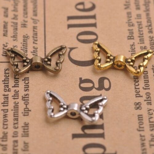 Gold 50Pcs Tibetan Silver Bronze Angel Wings Spacer Charms Beads D57