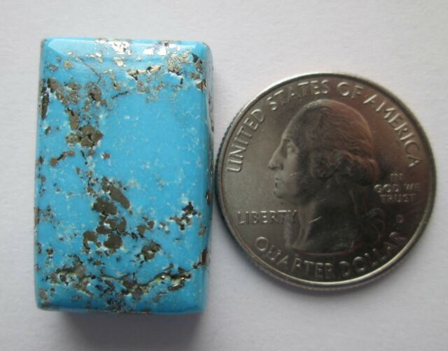 53.20 ct. Natural Persian Turquoise Cabochon Gemstone with Pyrite, # 1BA 013