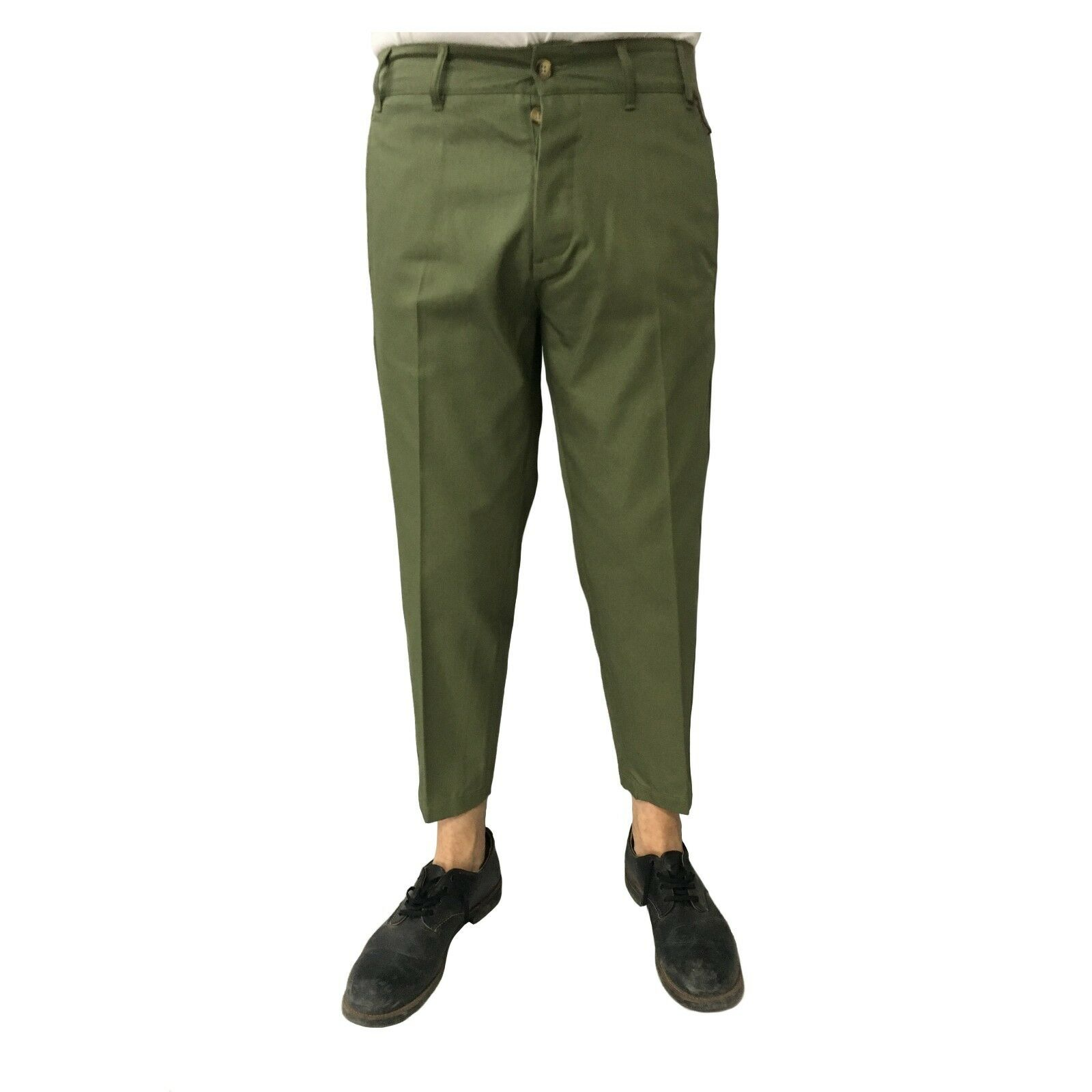 TISSUE' men's trousers green mod TPM00600 G001 100% cotton MADE IN ITALY