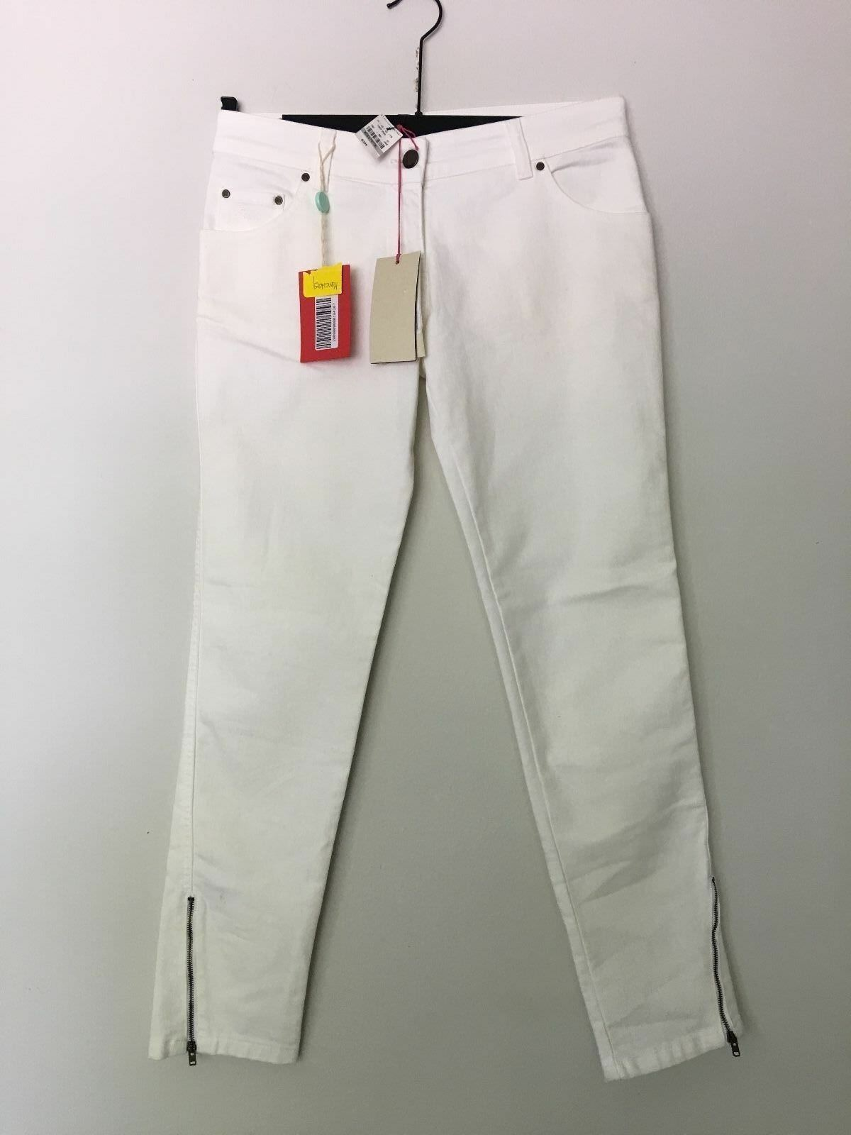 NWT  STELLA MCCARTNEY OFF WHITE ANKLE ZIP JEANS SIZE 40 MADE IN ITALY