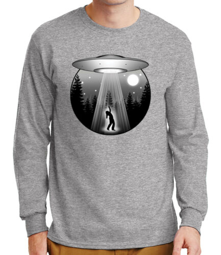 Flying Saucer Abduction Mens Long Sleeve Tshirt UFO Tee 2143C