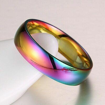 Hochzeit Engagement Band Mode Hämatit Titan Stahl Regenbogen