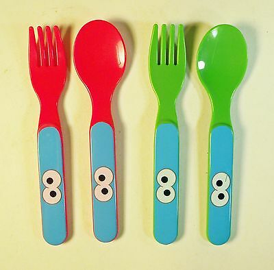 SESAME STREET 6pc Easy Grip CUTLERY Forks+Spoons BPA FREE Smooth Edges 4 MONTHS
