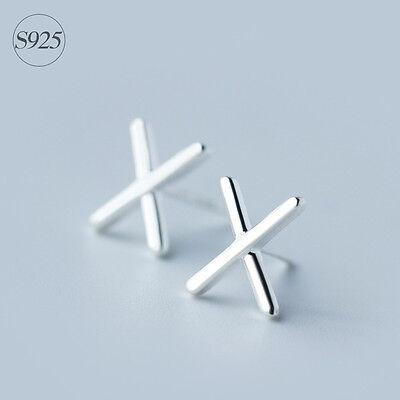 """Praktisch Ohrstecker """"x"""" Echt Sterling Silber 925 Damen Herren Ohrringe Buchstabe MöChten Sie Einheimische Chinesische Produkte Kaufen?"""