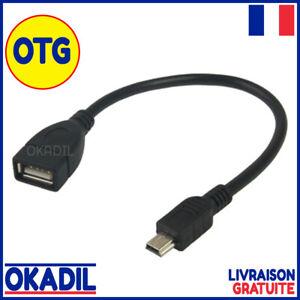 Cable-Mini-USB-Male-Type-B-vers-USB-Femelle-Type-A-Fonction-OTG-14-cm