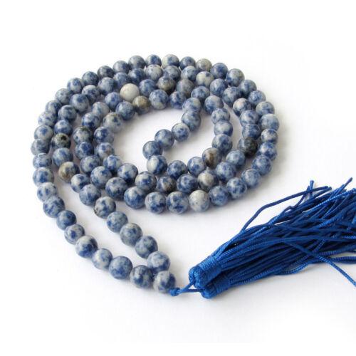 8mm Tibet Buddhist 108 Blue lapis lazuli Gemstone Prayer Beads Mala Necklace