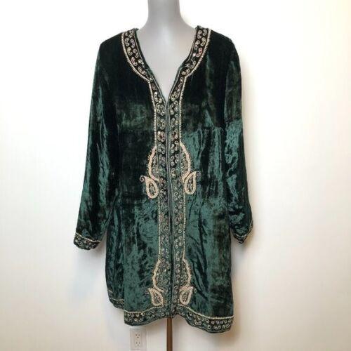 Soft Surroundings Velvet Duster Green Embellished