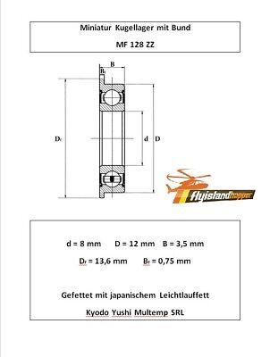 10x Kugellager MR 128 ZZ 8x12x3,5mm High Precision Ball Bearing 8 x 15 x 3,5 mm