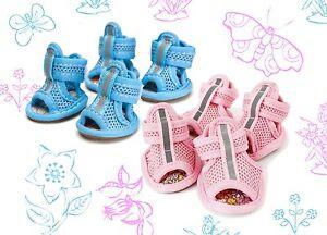 4 Sommer Sandalen Hundeschuhe Hund Schuhe Schutz Hitze Mesh S,M Rosa oder Blau