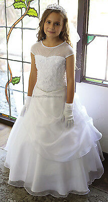FORMAL FLOWER GIRL DRESS CAP SLEEVE PAGEANT GOWN WHITE CONFIRMATION MADE IN USA