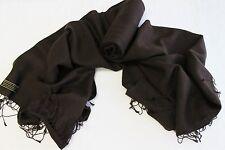 H232 NWT Chocolate Brown Pashmina Silk Shawl/ Wrap Hand Woven In Nepal