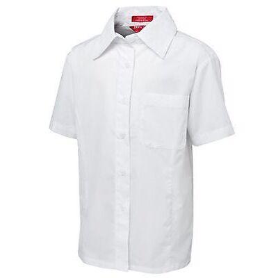 Girls Tailored School Blouse Formal Uniform Short Sleeve Tops Front Chest Pocket
